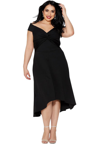 Black Plus Size Dip Hem Knot Front Evening Dress