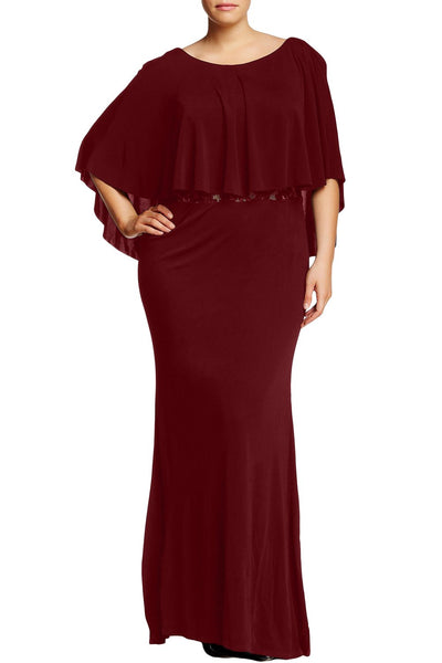 Red Cape Overlay Plus Size Dress