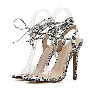 Stiletto Heel Lace-Up Open Toe Ankle Strap Serpentine Banquet Sandals