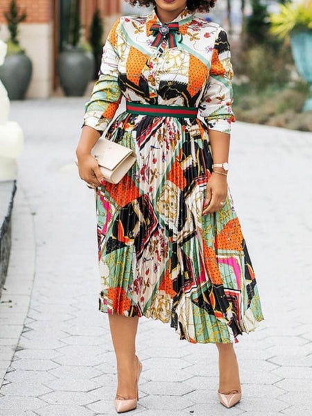 Long Sleeve Print Mid-Calf Standard-Waist Color Block Dress