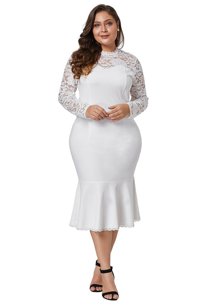 White Plus Size Lace Panel Peplum Hem White Sheath Dress