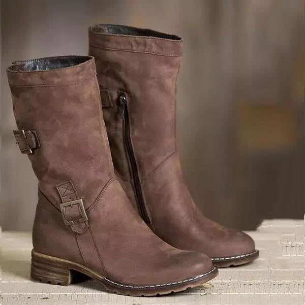 Women's Vintage Flat Solid Boots