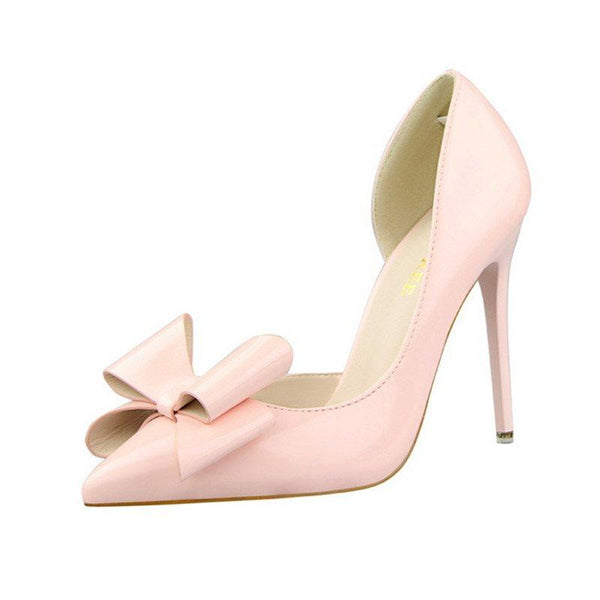 Slip-On Pointed Toe Bow Stiletto Heel Ultra-High Heel Low-Cut Upper Thin Shoes