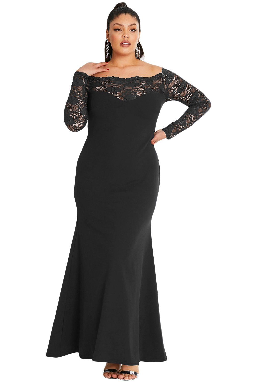 Black Lace Off-The-Shoulder Plus Size Maxi Dress