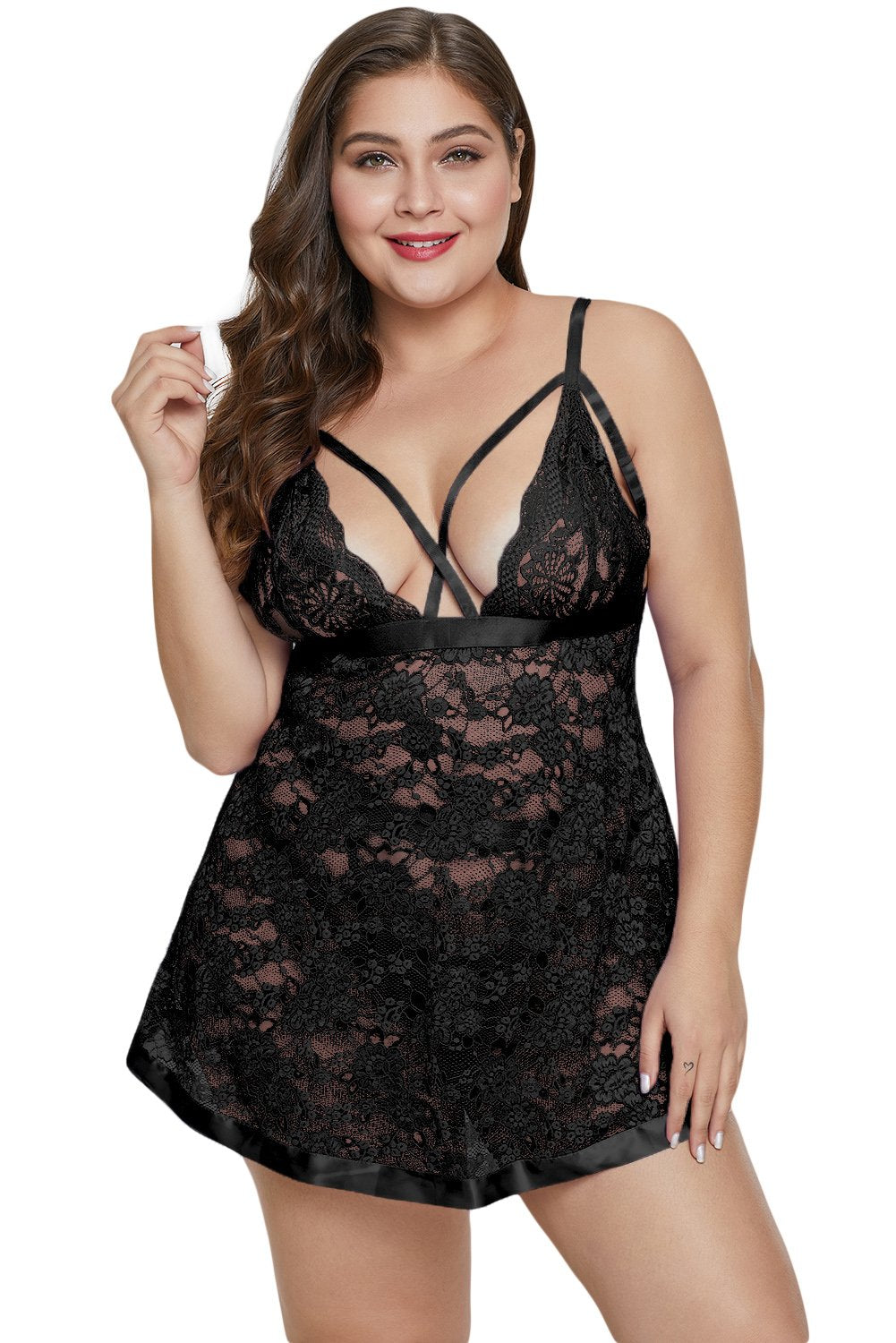 Black Dreamy Lace Plus Size Babydoll