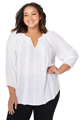 White Embroidered Stripe Plus Size Peasant Top