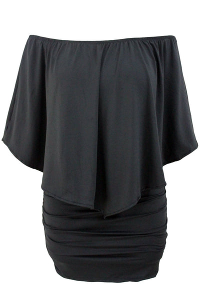 Plus Size Multiple Dressing Layered Black Mini Poncho Dress
