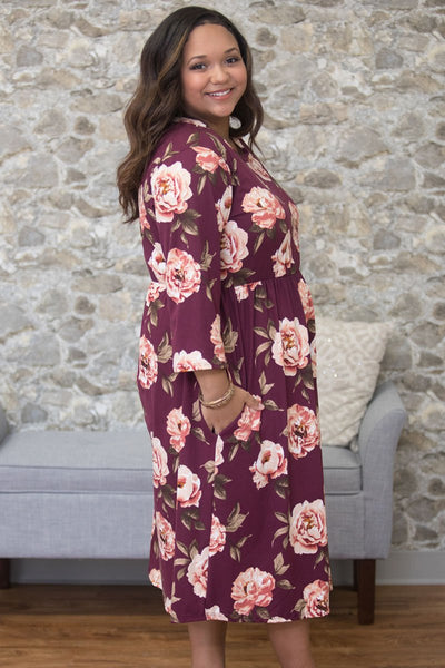 Purplish Red Floral Printing Plus Size Dress