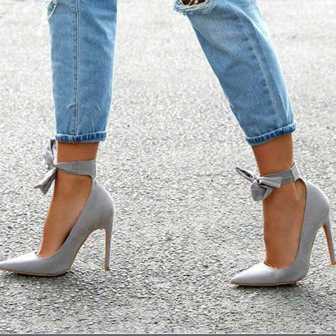 Pointed Toe Bow Stiletto Heel Lace-Up Low-Cut Upper Plain Thin Shoes
