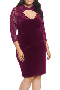 Burgundy Velvet & Glitter Lace Plus Size Sheath Dress