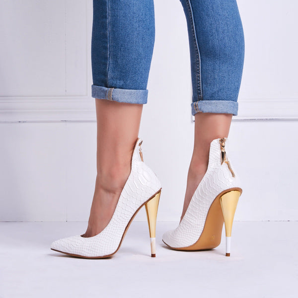 Pointed Toe Slip-On Zipper Cone Heel Low-Cut Upper 10cm Thin Shoes