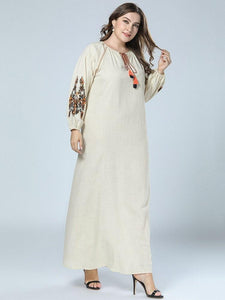 Embroidery Floor-Length Long Sleeve Floral Lantern Sleeve Dress