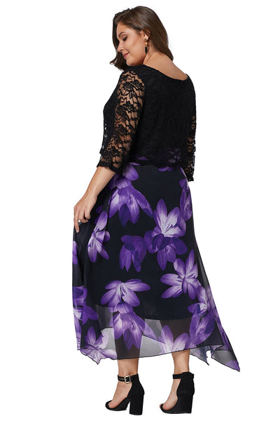 Black Plus Size Floral Dress With Lace Overlay