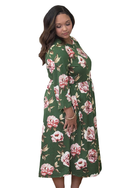 Olive Floral Printing Plus Size Dress