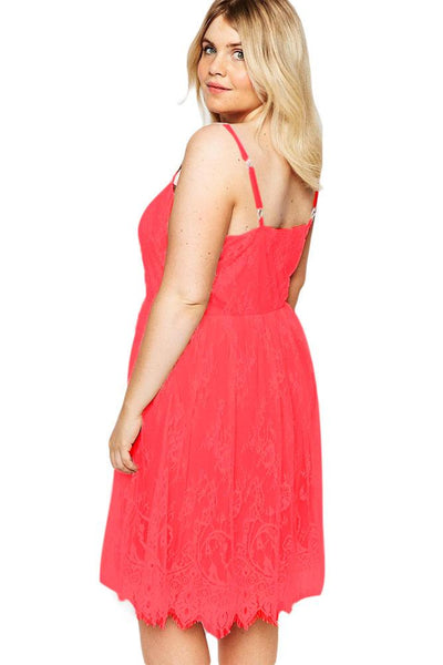 Red Big Girl Sweet Lace Skater Dress
