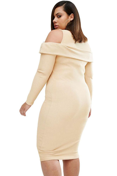 Plus Ribbed Cold Shoulder Apricot Long Sleeves Dress