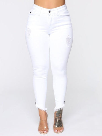Plain Button Pencil Pants Skinny Zipper Jeans