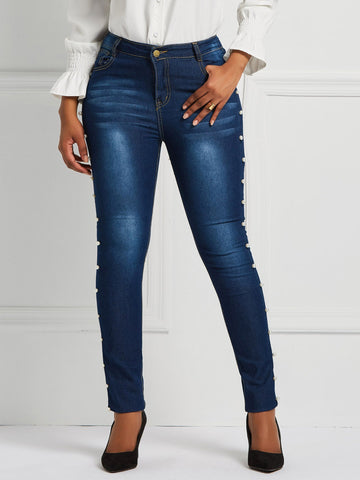 Bead Plain Pencil Pants Slim Mid Waist Jeans