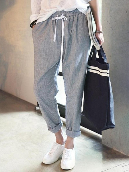 All Season Natural Casual Linen Striped Pants