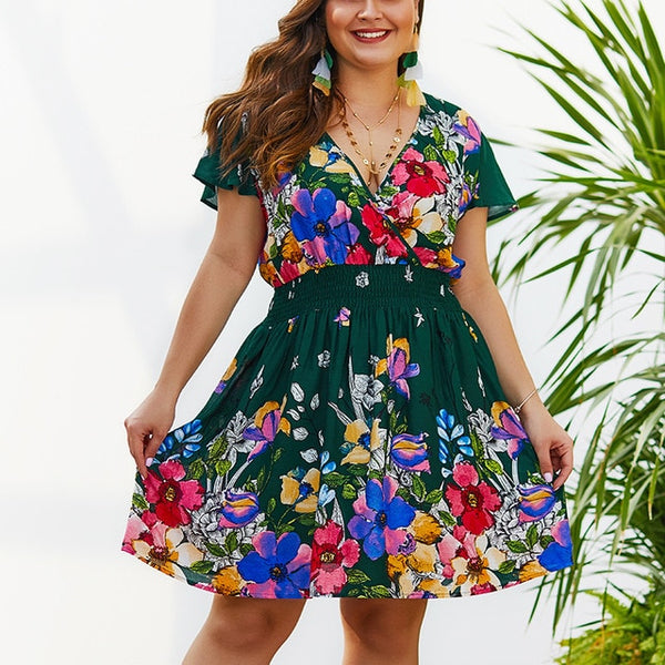 Floral Print Ladies Large Casual Beach Dresses Bohemian Sundress
