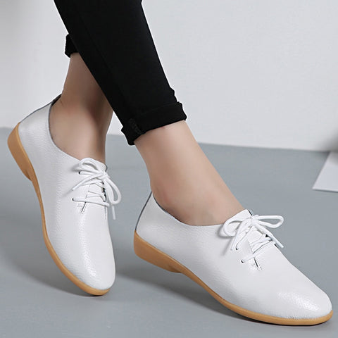 Flat Casual Pointed Toe Flats Leather Shoes Female Lace Up White Shoes