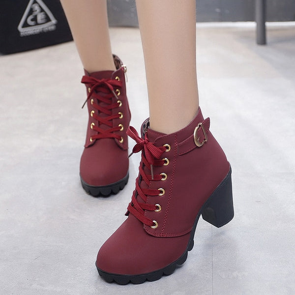 elegant square high heel solid color vintage lace-up women boots