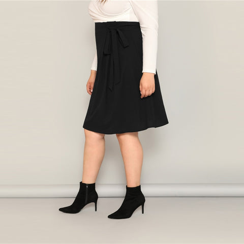 Black High Waist Tie Side Skirt Knee Length Solid Casual A Line Big Size Skirts With Belt