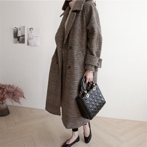 Plaid Coat Woolen Trench Fashion Long Female Plus Size Overcoat