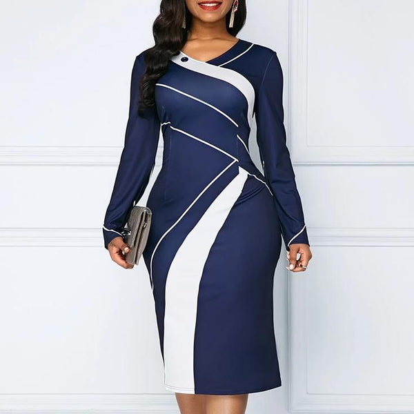 O-neck Long Sleeves Colour coloured wrapped Pencil Plus Size Dress