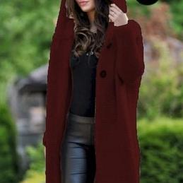Solid Color Long Sleeve Hooded Coat Knit Sweater