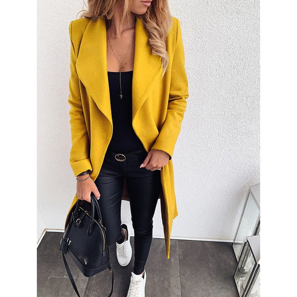 Plus Size Bandage Long Sleeve Ladies Casual Woolen Coat