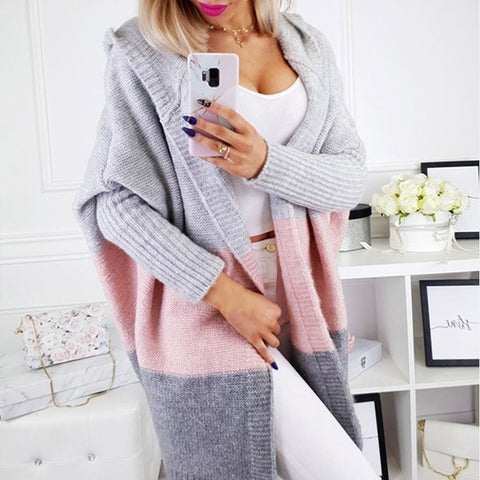 Patchwork Knitted Long Cardigan Hooded Batwing Sleeve Plus Size