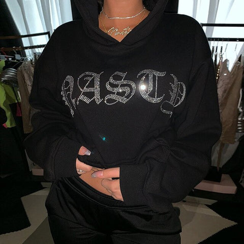 Oversized Glitter Letter Sweatshirt Gothic Loose Tops