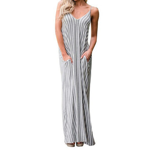 Casual Women Striped Boho Evening Party Oversized Strappy Long Maxi Dress