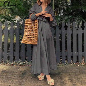 Vintage Pleated Long Dress Sexy V Neck Long Sleeve Casual Solid Plus Size
