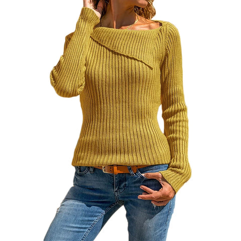 Off-shoulder Plus Size Sweater Fashion Women Solid