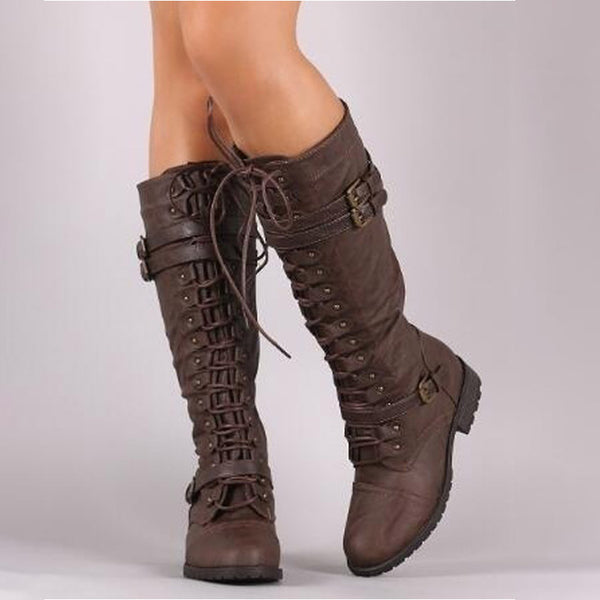 Lace Up Vintage Flat Shoes Sexy Steampunk Leather Retro Buckle Snow Boots