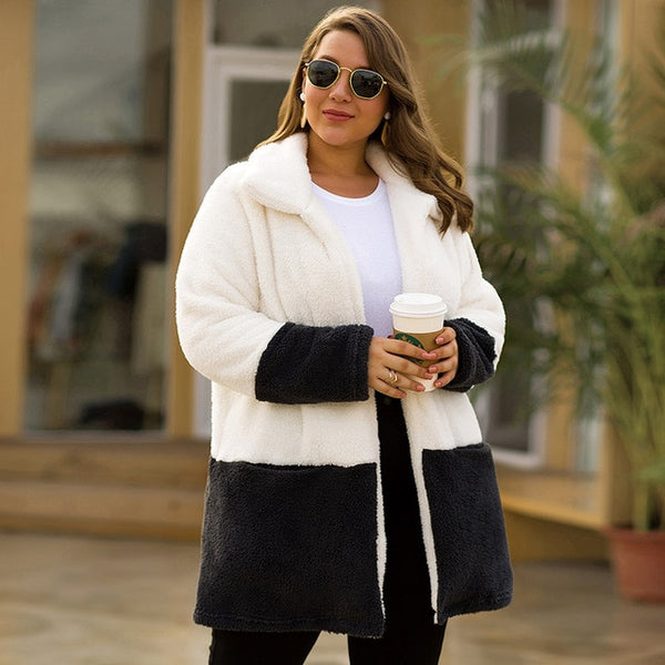 Warm white Cardigan Casual Women Woolen Overcoat plus size female