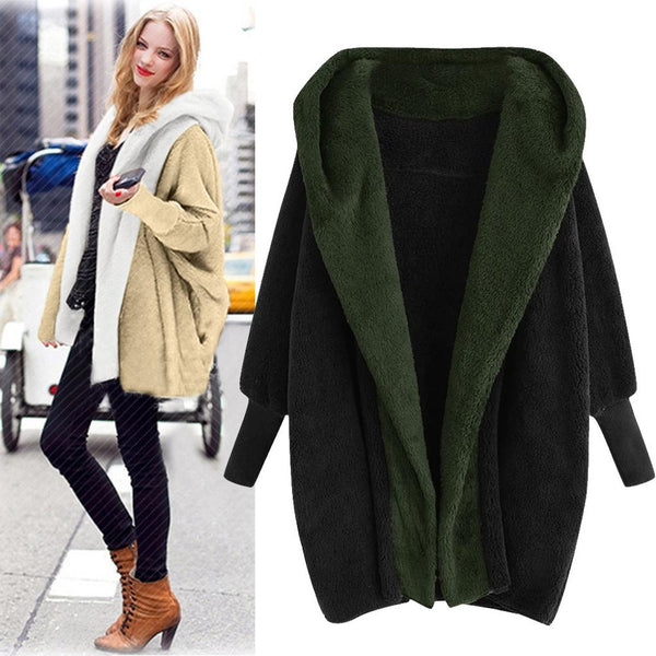 Plus Size Women Warm Hooded Coat With Pockets Winter Casual Streetwear