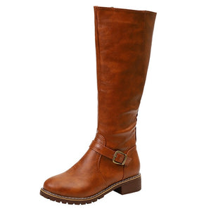 Vintage leather Square Heel Zipper knee height buckle Boot Keep Warm