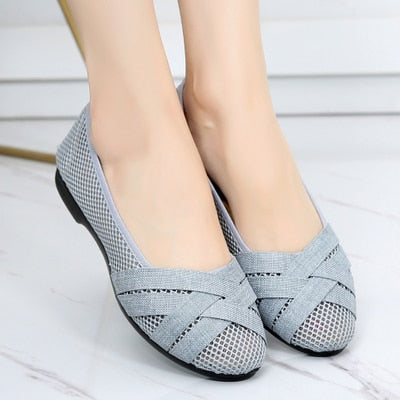 Light Weight Plus Size Flat Shoes Lady Casual Grey Comfortable Shoes Breathable Shoes
