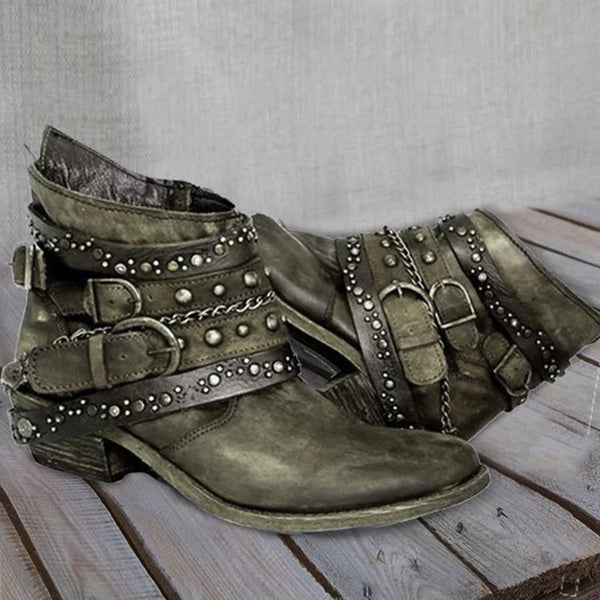 low heels vintage PU leather buckle ankle boots