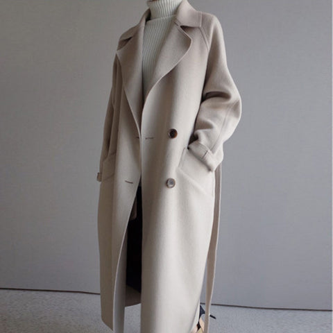 Wool Coat Long Coats Vintage Woolen Overcoat Camel Oversize Outwear