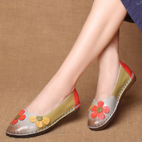 Fashion Flower Design Round Toe Flat Shoes Vintage Genuine Leather Women Flats