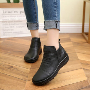 Fashion Flat Genuine Leather Ankle Shoes Vintage Boot