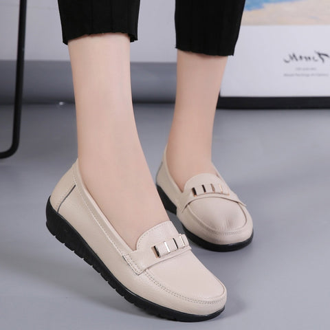 Loafers slip-on round toe solid female shoes leather flat shoes woman