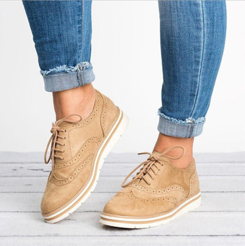 Woman Platform Oxfords British Style Creepers Cut-Outs Flat Casual Women Shoes