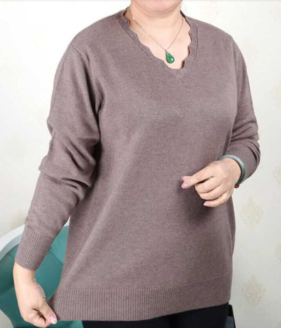 Plus Size Women Sweater Knitted Shirt Long Sleeve