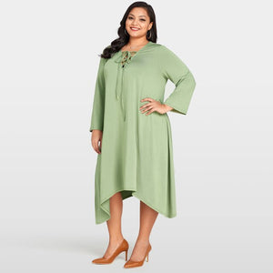 Plus Size Lace Up V Neck Long Sleeve Asymmetric Hem Loose Dress