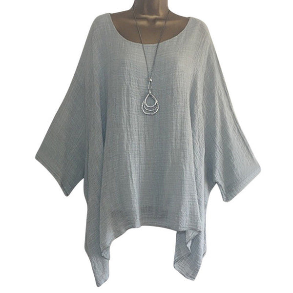 Women shirt Batwing Long Sleeve solid color plus size Tops